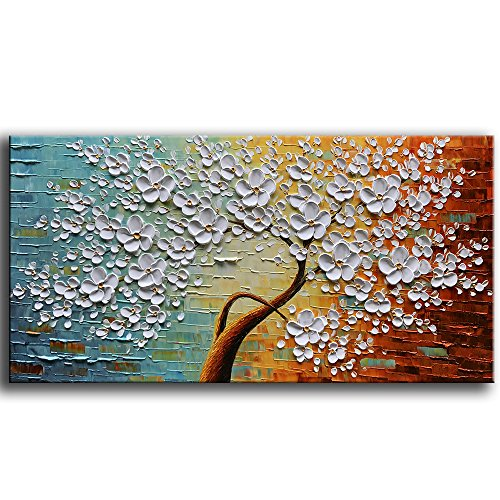 YaSheng Art 100% hand-painted Contemporary Art Oil Painting On Canvas Texture Palette Knife Landscape Paintings Modern Home Interior Decor Abstract Art 3D Flowers Paintings Ready to hang 24x48inch