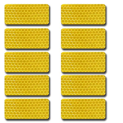 Autotoper Rectangular shape Waterproof Self-Adhesive Tape-Reflective Tape For Trucks Trailers Car Park Traffic Warning Caution Conspicuity Tape Reflective Tape 10 packs (Rectangular Shapes)