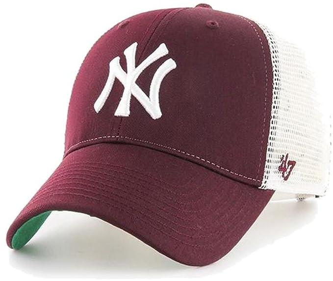 47 brand Cappellino Mlb New York Yankees Mvp Trucker Branson bordò bianco  formato  OSFA ( d6caa639f435
