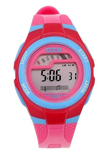 OTS - Reloj Digital Deportivo Impermeable con Alarma Luminoso de Cuarzo Cronómetro para Niños Niñas y Estudiantes - Color Rosa: Amazon.es: Relojes