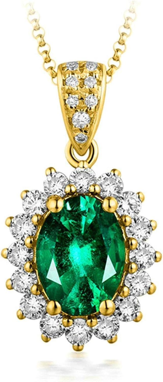 AueDsa Colgantes Oro Collar 18K Oro Mujer Girasol con Oval Esmeralda 0.75/1/2.05ct