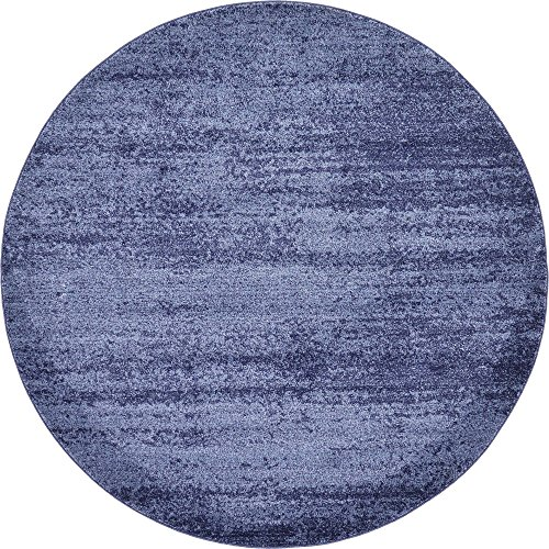 Unique Loom Del Mar Collection Contemporary Transitional Navy Blue Round Rug (6' 0 x 6' 0)