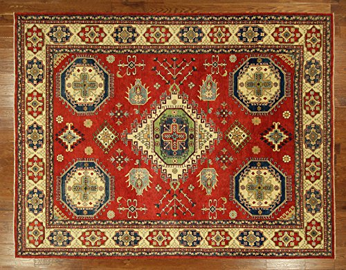 Bh Sun H6421 One of a Kind Vibrant Red Super Kazak Hand Knotted 9 x 12 ft. Wool Area Rug