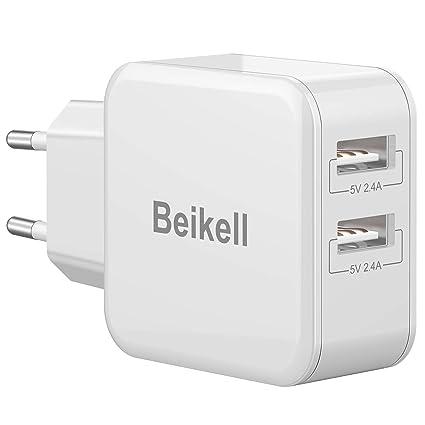 Beikell Cargador USB Pared con 2 Puertos, Cargador Móvil USB Múltiple Red Rápido 5V/2.4A Enchufe Multipuerto Europeo para iPhone, Huawei, Xiaomi, ...