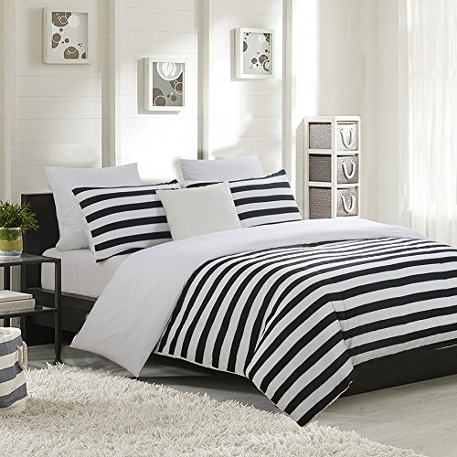 Vaulia Lightweight Microfiber Duvet Cover Set, Black And White Stripes  Print Pattern, Reversible Color Design   Queen Size