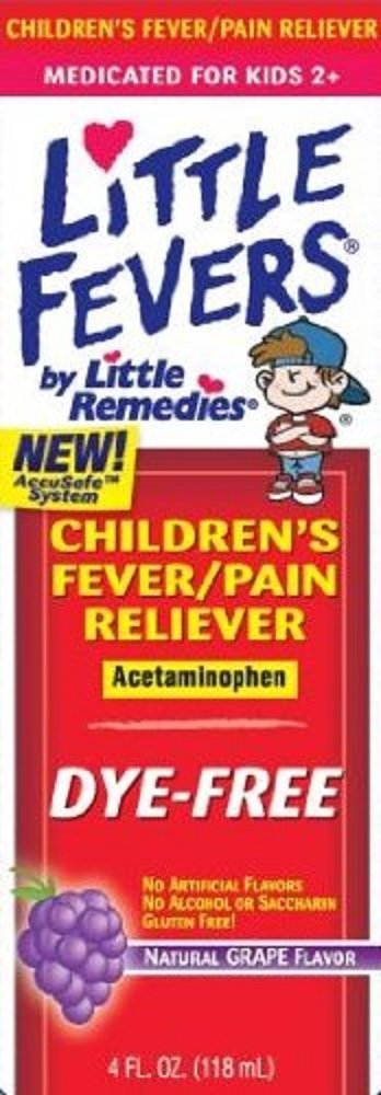 Little Fevers Children's Fever/pain Reliever, Dye-free, Natural Grape Flavor, 4 Fl Oz (3 Pack)