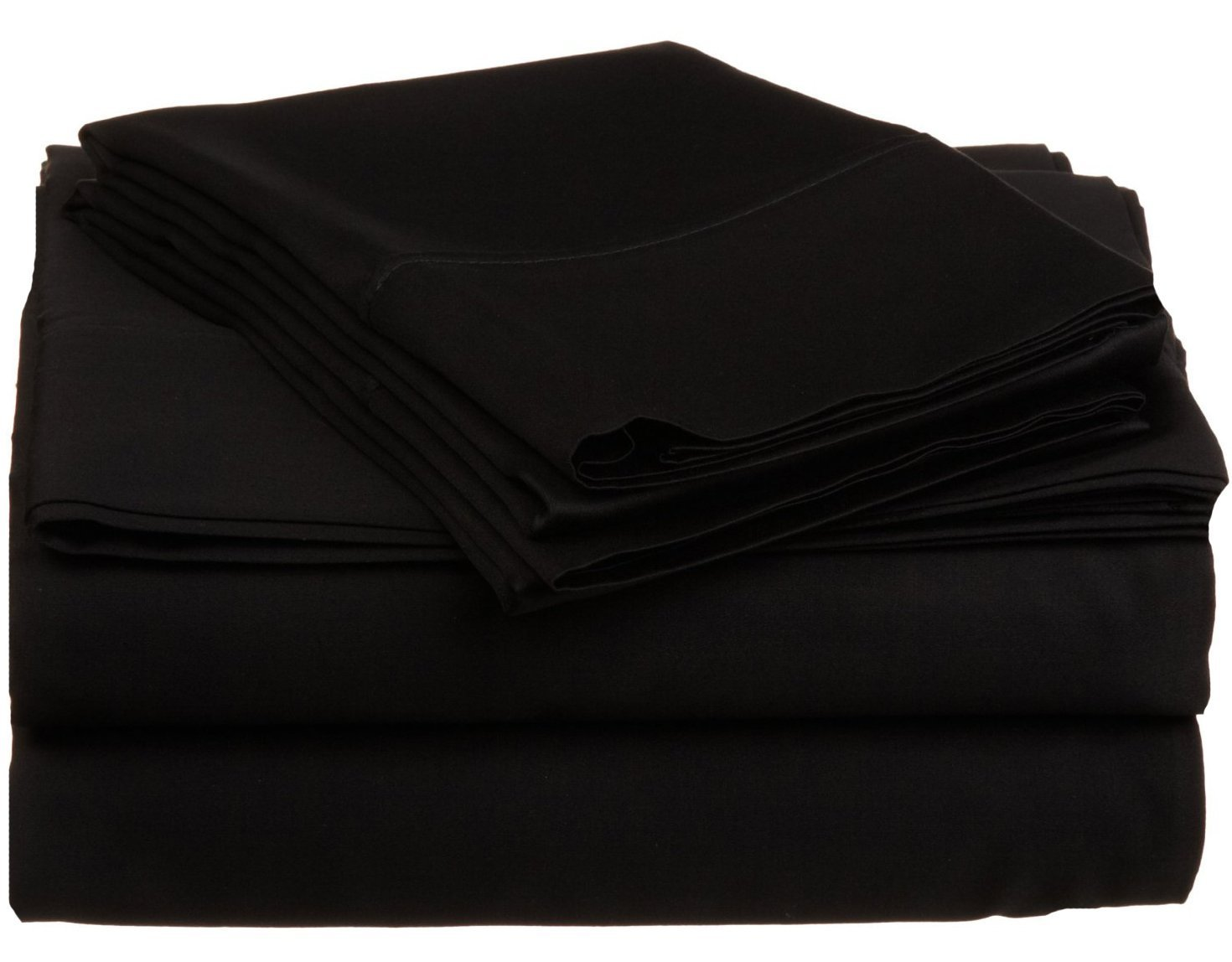 Bed Life Solid Black - Top / Flat Sheet With Matching Pillow Cases ( Set of 3 Pack ) 500 TC Ultra Soft Sizes ( Cal-King ) Made By Galaxy's Linen