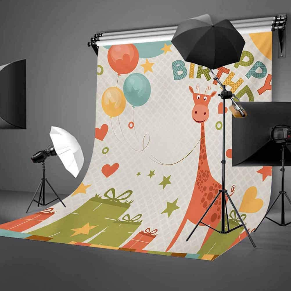 Old Cartoon Giraffe with Box Balloons Stars Celebration Image Background for Photography Kids Adult Photo Booth Video Shoot Vinyl Studio Props Kids Birthday 6x8 FT Photography Backdrop