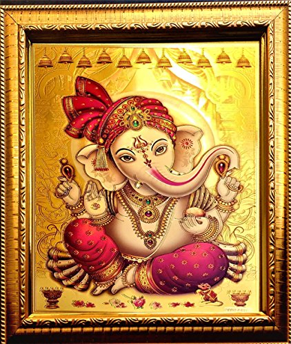ADA Handicraft Ganesh Ji Photo Frame for Wall and Pooja/Poster for Pooja/Religious Framed Painting for Worship (35 X 25) cm (Best Photos Of Ganesh Ji)