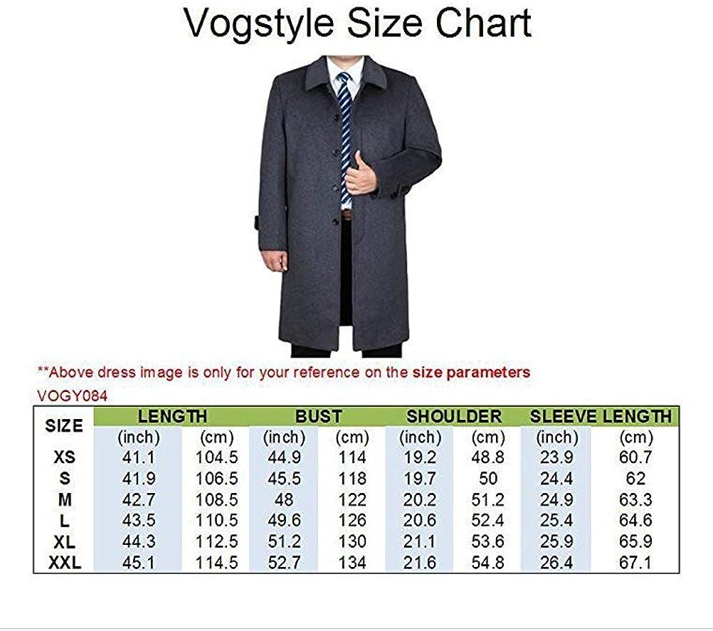Vogstyle Uomo Nuovo Cappotto Trench Monopetto Slim Fit Windbreaker Giacca Lunga Outwear
