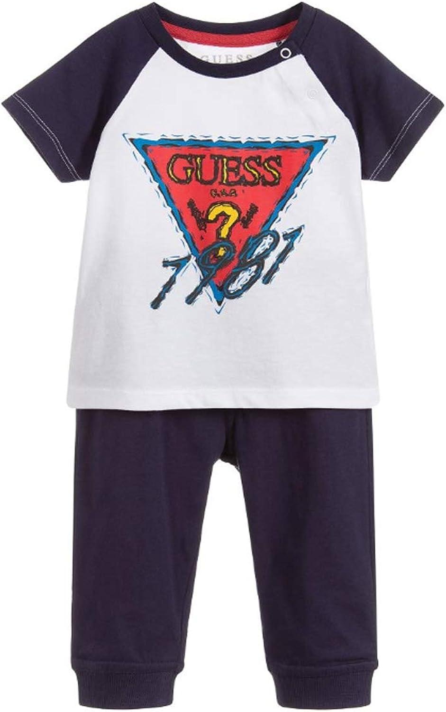 Guess - Juego completo de camiseta y pantalón azul marino para bebé: Amazon.es: Ropa y accesorios