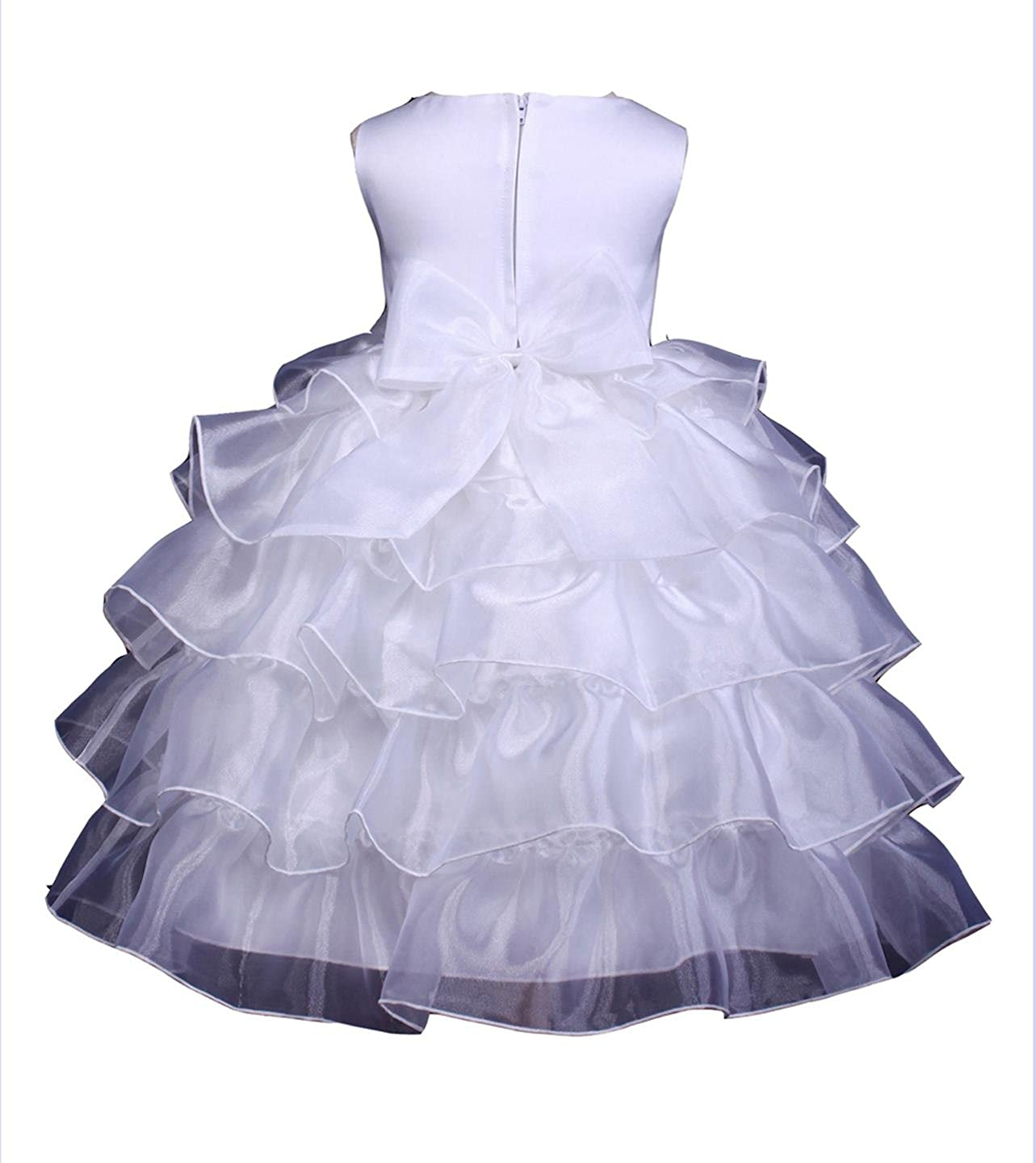 bf05e351c705 Amazon.com  Prince Lover White Girls  Wedding Tiered Organza Flower ...