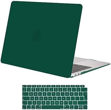 Image of MOSISO Funda Dura Compatible con 2020 2019 2018 MacBook Air 13 Pulgadas A2179 A1932 con Touch ID, Ultra Delgado Carcasa Rígida Protector de Plástico Cubierta & Piel de Teclado, Verde Pavo Real
