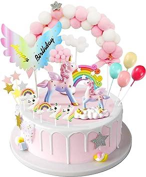 Admirable Izoel Unicorn Cake Topper 1 Pink Hairball Arch 1 Rainbow 1Wings Personalised Birthday Cards Vishlily Jamesorg