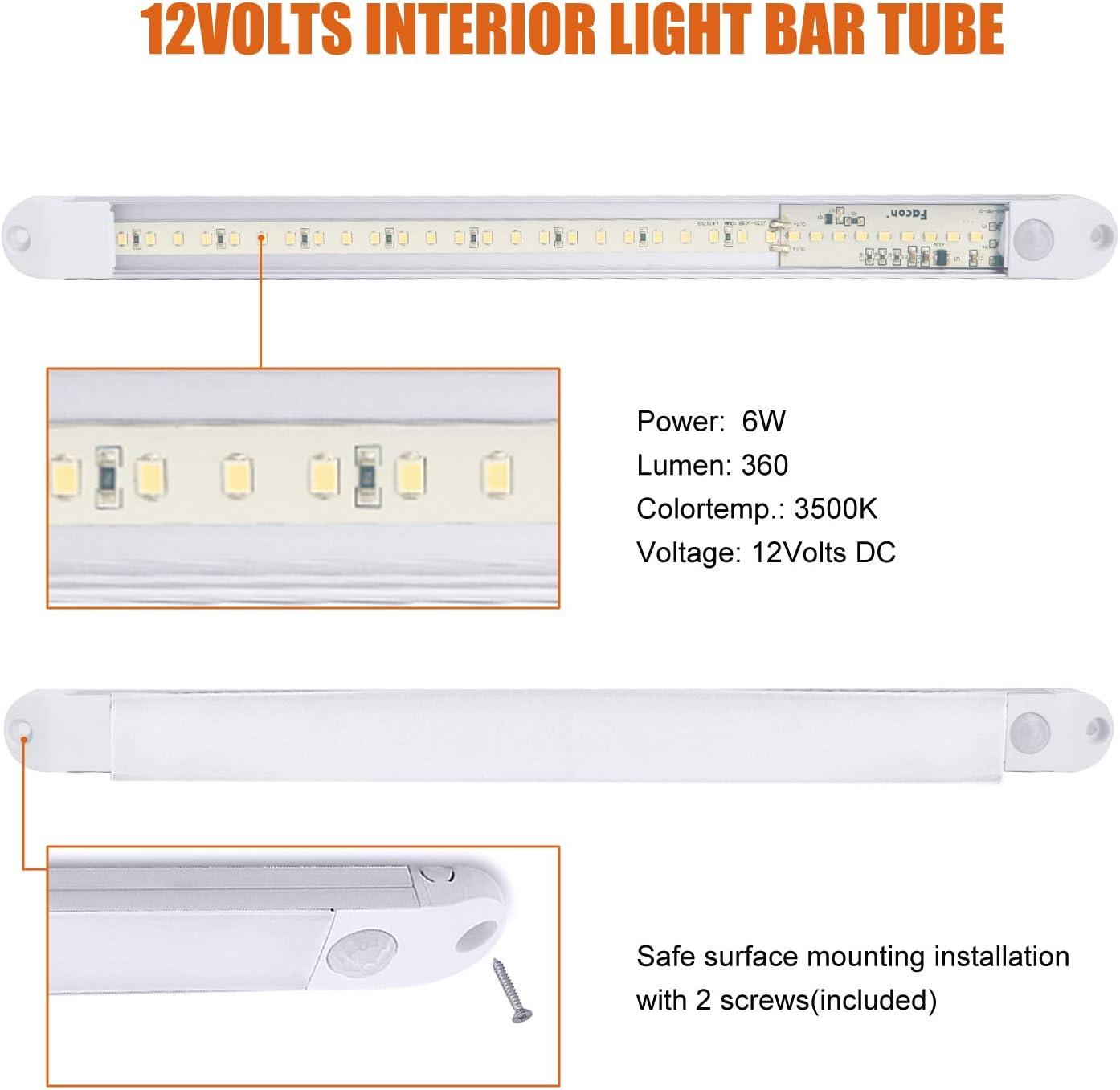 Facon Innenleuchten 12V LED Starre Lichtleiste Schrankbeleuchtung Super Slim Wandleuchten mit PIR Sensor f/ür Reisemobil Wohnwagen und Boot