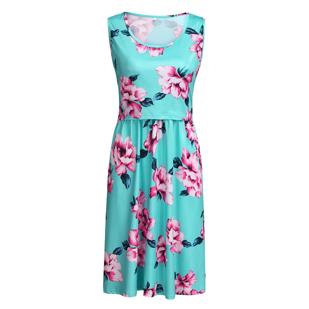 Sleeveless Vest Dress ❀Vine_MINMI❀ Maternity Bodycon Floral Skirt Breastfeeding Dresses Summer T-Shirt Beach Gown Green by Vine_MINMI Dress