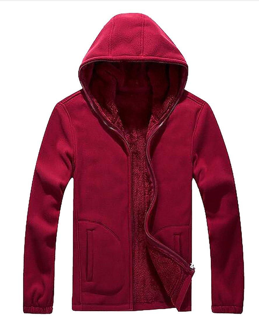 Smeiling Mens Winter Jackets Hood Fleece Hoodies Sweatshirt Warm Thick Coats