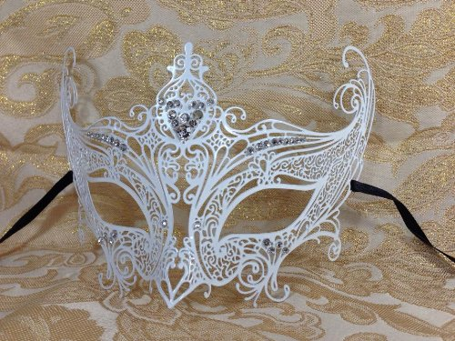 Grand Swan Venetian Impression Design Masquerade Mask Decorated with Beautiful Gems- White by (Ballroom Masks)