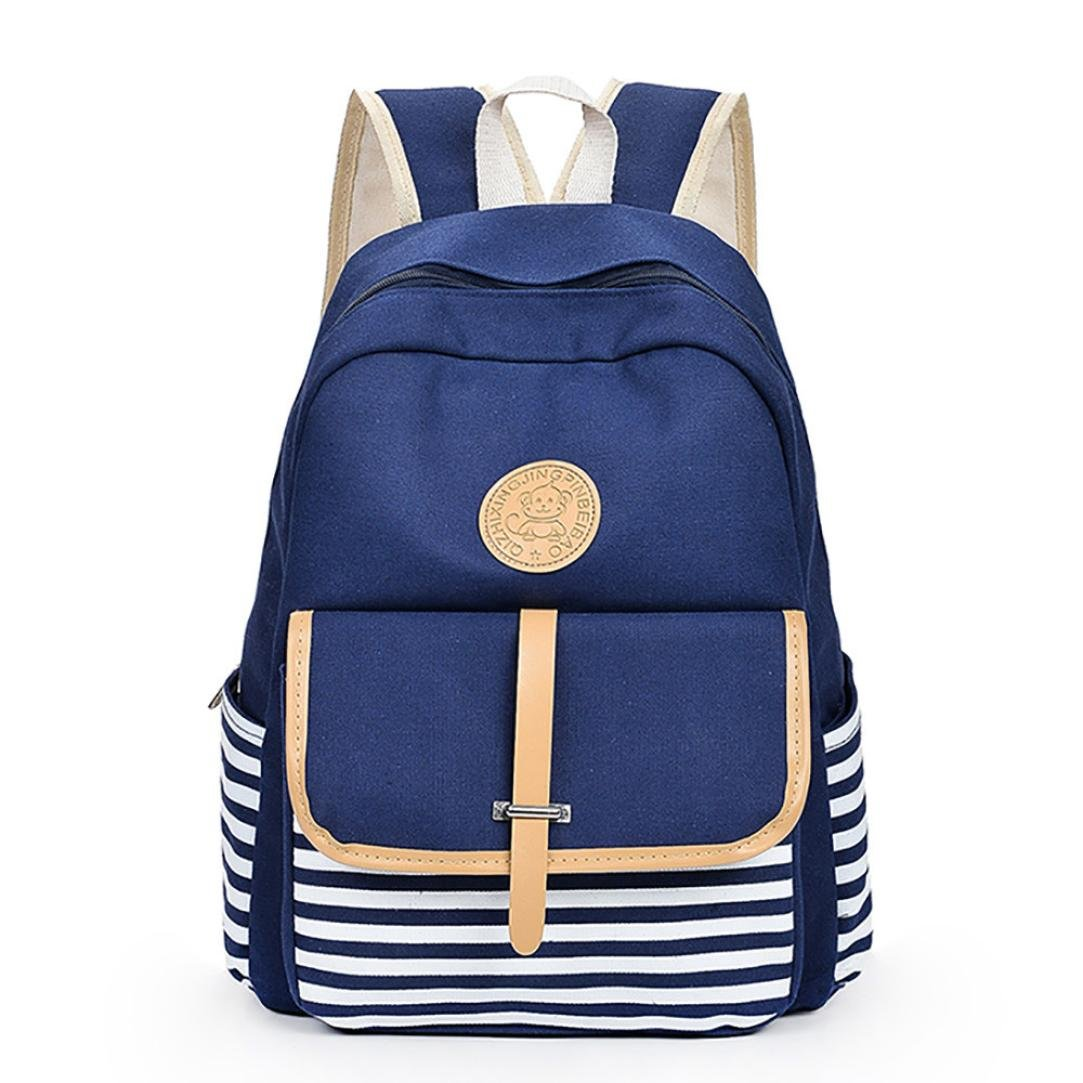 Student Backpack,Chartsea Women Girls Canvas Preppy Shoulder Bookbags School Travel Backpack Bag (Blue)