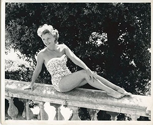 Avril Angers British 1950's Big draw Sitting On Wall in Swimsuit Original 8x10 Photo