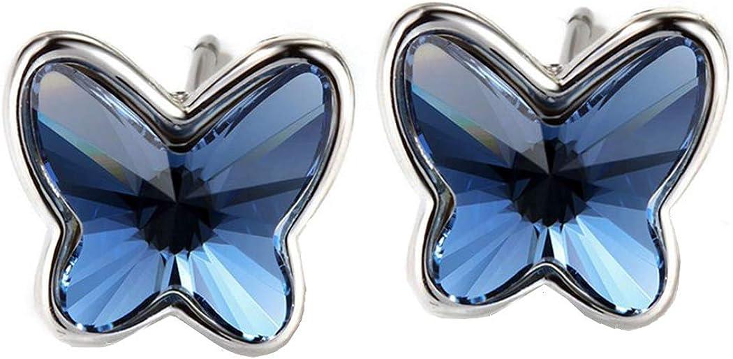 Pendientes Swarovski® Mariposa para Mujer. Plata de Ley 925, Cristal Swarovski Elements Autentificado Color Azul Vaquero (Blue Denim). Caja con Corazón para Regalo