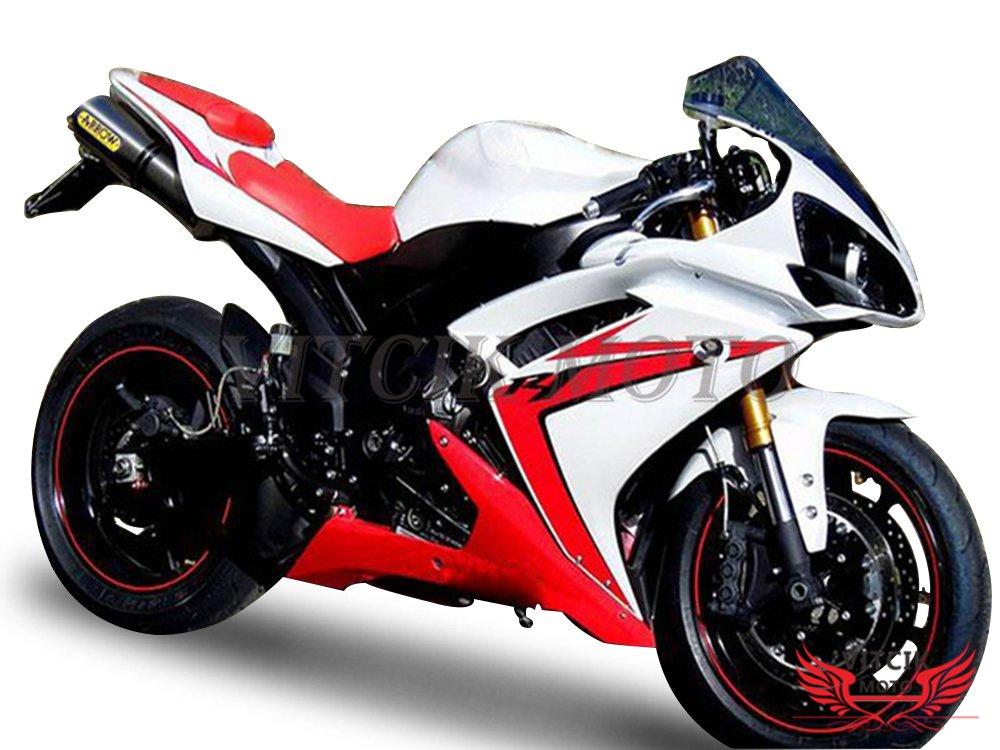 VITCIK (フェアリングキット 対応車種 ヤマハ Yamaha YZF-1000 R1 2007 2008 YZF 1000 R1 07 08) プラスチックABS射出成型 完全なオートバイ車体 アフターマーケット車体フレーム 外装パーツセット(レッド & ホワイト) A062   B0787V79RC
