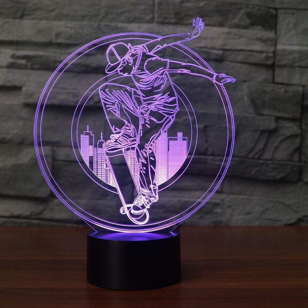 Ubikort Skateboard 3d Illusion Night Lamp For Boys Girls And Adults Great Birthday Present For Sport Fans New Generation Perfect Gift Idea Ideal For Night Light Bedroom Desk Decor Night Lights