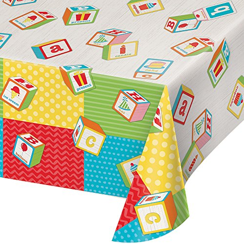 Creative Converting 329337 Print Plastic Tablecover, ABC Birthday