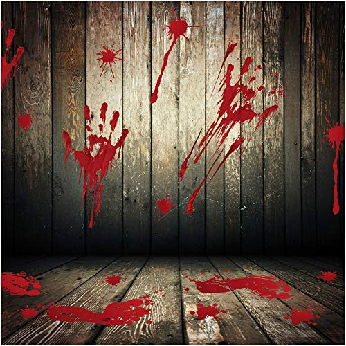 Halloween Bloody Footprints Floor Clings Handprints Wall Window Decals Sticker Vampire Zombie Party Decorations Removable Template Stencil Door Showcase Clings for DIY Halloween Party Supplies 8 Pack