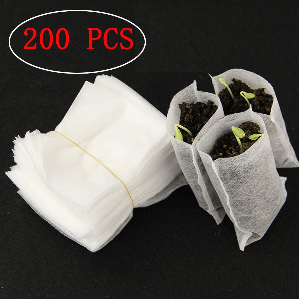200Pcs Biodegradable Non-Woven Nursery Bags Plant Grow Environmental Bags Fabric Seedling Pots Plants Pouch Home Garden Supply Grow Bags