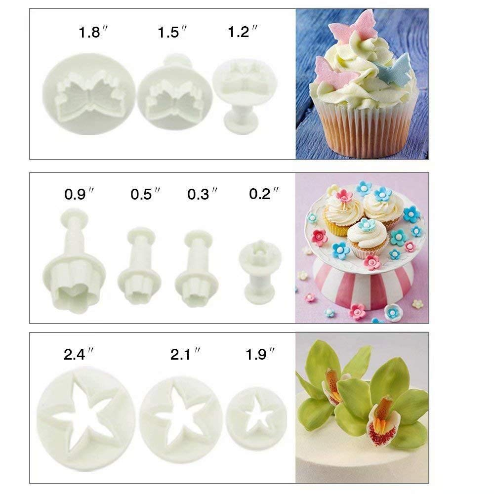 33 Pcs Sonline 10 Sets Plunger Cutters Sugar craft Cake Decorating Heart, Veined Butterfly, Star, Daisy, Veined Rose Leaf ,Carnation, Blossom, Flower, Sunflower , Other Including Free First Class Delivery