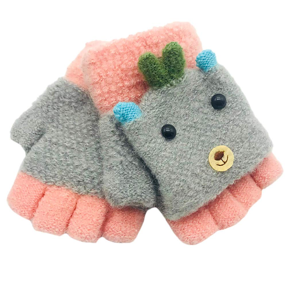 Minshao Children Girls Boys Winter Cartoon Animal Patchwork Keep Warm Mittens Gloves for 1~3 Years Old (Gray)