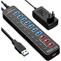 APANAGE USB 3.0 Hub, 11 Ports USB Hub (7-Ports Datenübertragung und 4-Ports Schnellladegerät USB Hub 3.0 Aktiv) mit Einzelnen Power Schalter, mit 48W Netzteil und 1M Kabel, für Laptop PC
