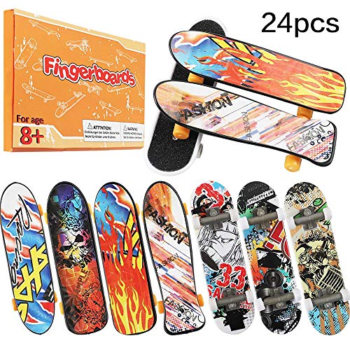 HEHALI 24pcs Mini Finger Skateboards Fingerboards in 4 Styles with Random Pattern - Pack Skateboard Fingerboard