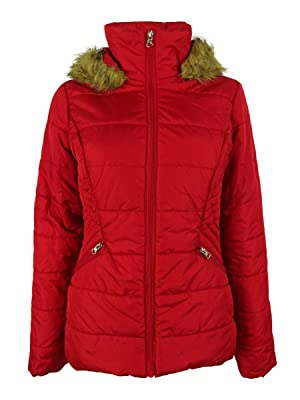 Krush Faux-Fur-Hood Puffer Jacket Large Red