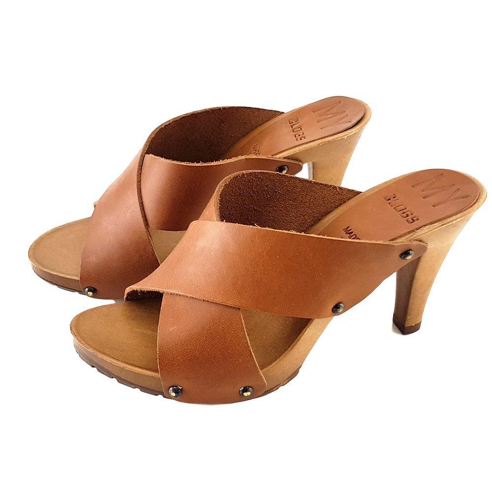 kiara shoes Zueco Cuero Tacon Aguja 9 -MY362 39 EU