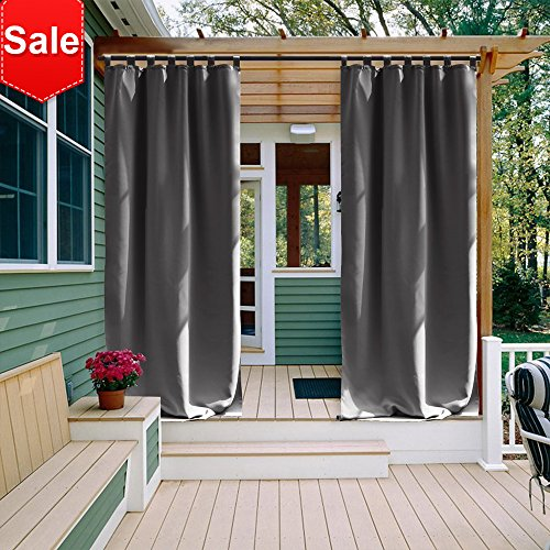 NICETOWN Outdoor Curtain Panel 108 Inches Long Thermal Insulated Tab Top Blackout Outdoor Indoor Window Curtain/Drape for Lawn & Garden (1 Panel,52 x 108 Inch, Gray) (Tab Panels Top Long Drapery)