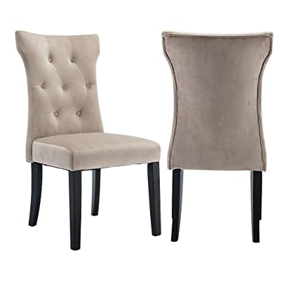 Surprising Fumu Set Of 2 Modern Fabric Dining Chairs Living Room Bedroom Casual Chair Upholstered Chairs Armless Button Tufted With Solid Wood Legs Beige Dailytribune Chair Design For Home Dailytribuneorg