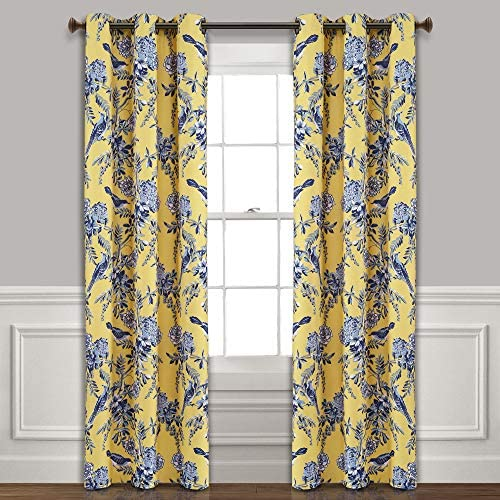Lush Decor, Yellow and Blue Farmhouse Bird and Flower Insulated Grommet Blackout Window Curtain Panel Pair, 95 x 38 , 95 x 38