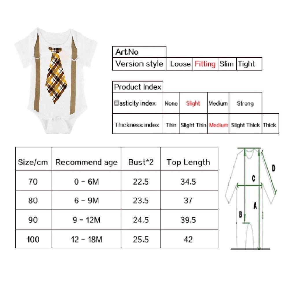 Puseky Body Nouveau-n/é b/éb/é Barboteuse Cravate imprim/é /à Manches Courtes Combinaison