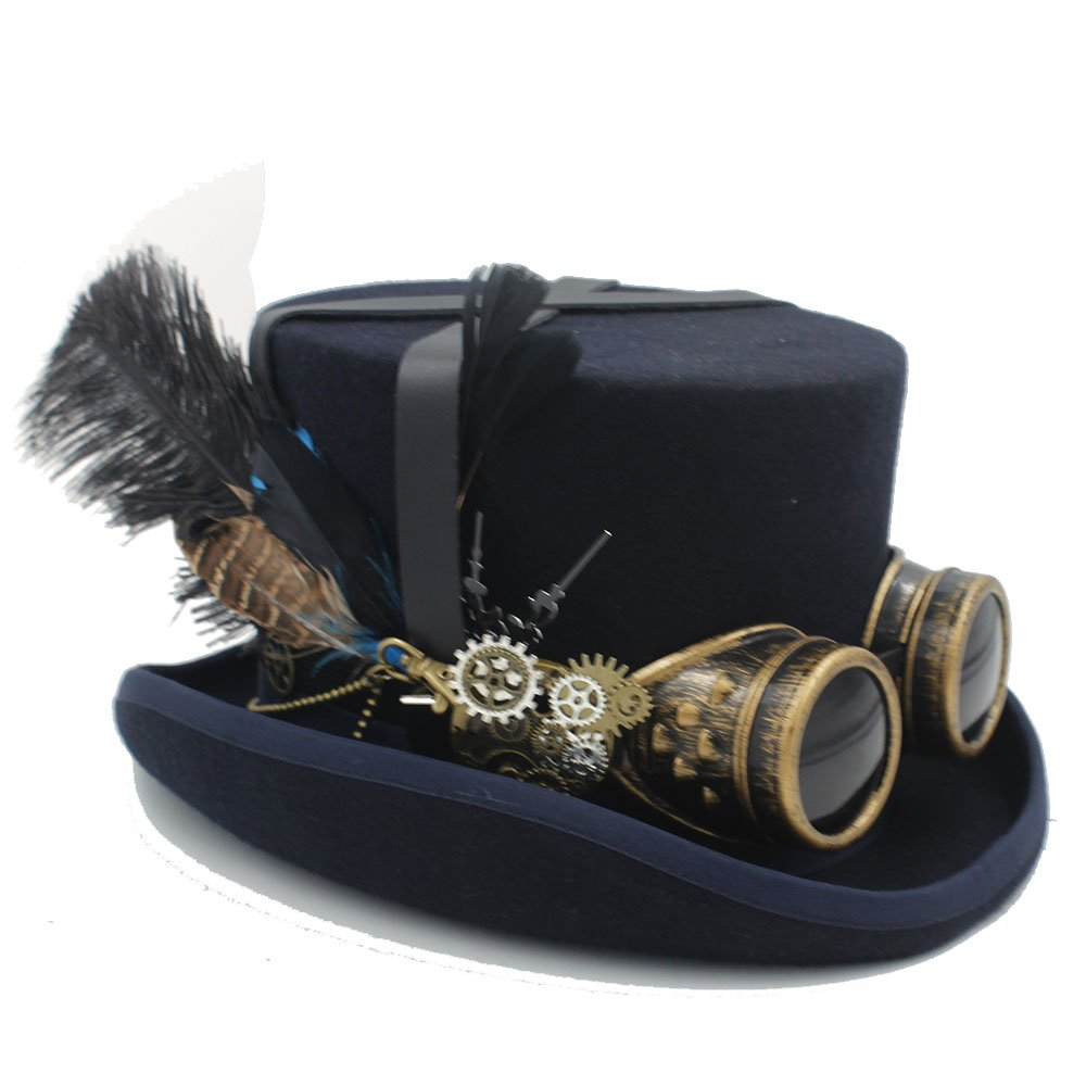HYF Womens Black Hot Hat with Goggles Steampunk Top Hat Victorian Wedding Tophat Burning Cosplay Nutcracker Festival Hat