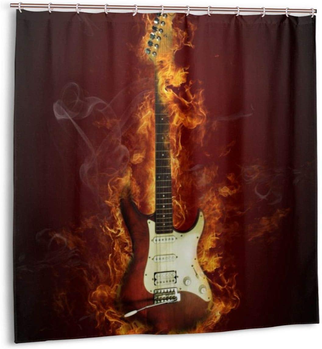 Cortina de Ducha, Guitarra eléctrica en Llamas Fuego ardiente Hardrock Concepto de Creatividad Musical Juego de Cortinas de baño con Ganchos 72 x 72 Pulgadas