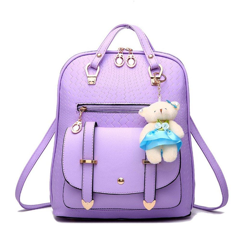 Hynbase Fashion Womens Summer Travel Watermelon Style Schoolbag Backpack Leather Shoulder Bag Purple
