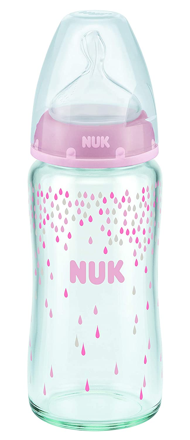 Nuk 10212024 First Choice Plus Glass Baby Bottle, 240ml, silicone teats, size 0-6 months, M, pink NBC2 745071P