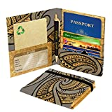 Green Banana Eco-Leather Passport Travel Wallet (Tribal Grey)