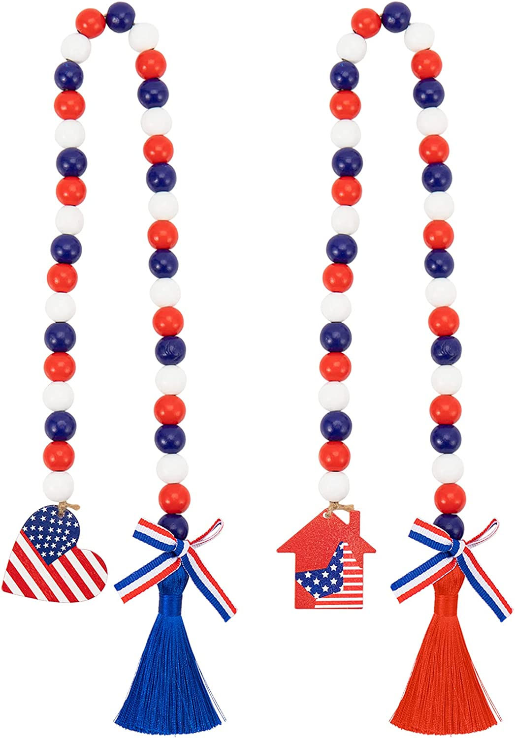 2pcs Patriotic Wood Bead Garland with American Flag Tag- Independence Day Wooden Beads Garland with Tassels Rustic Prayer Beads with USA Flag for 4th of July Memorial Day Home Farmhouse Decor