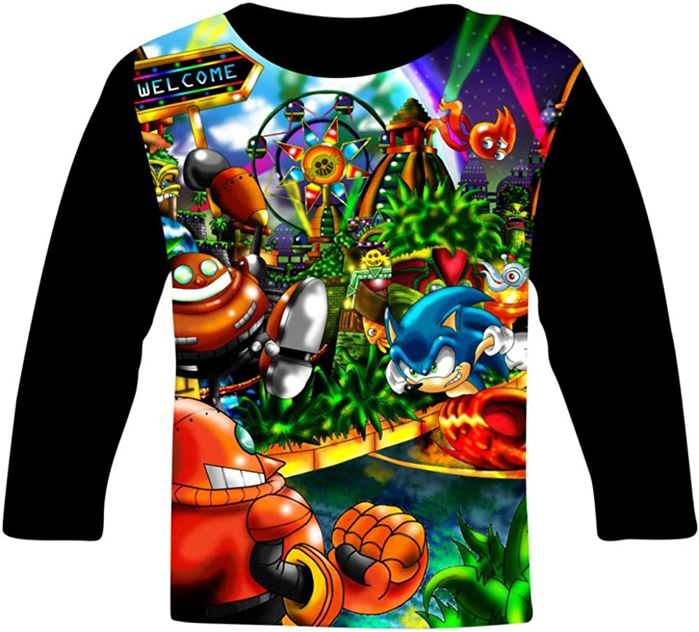 Colorful Son-Ic Party Kids T-Shirts Long Sleeve Tees Fashion Tops for Boys//Girls