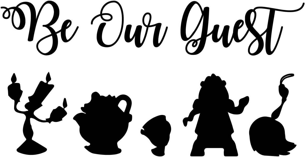 CustomVinylDecor Beauty and The Beast Be Our Guest Quote Vinyl Wall Sticker | Home Decor Sticker for Bedroom, Family Room, or Playroom | Small, Large Sizes | Black, Brown, Green