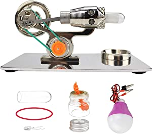 Enenes Hot Air Stirling Engine Kit Double-Cylinder Stirling Motor Model Education Toy Electricity Power Generator Model