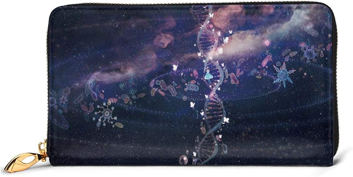 Women Genuine Leather Wallets DNA Digital Art Credit Card Holder Organizer Ladies Purse Zipper Around Clutch Cash Pocket